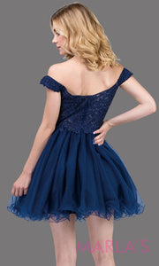 2248BShort off shoulder puffy skirt navy blue grade 8 grad dress. This dark blue lace graduation dress is perfect for quinceanera damas, bat mitzvah, sweet 16 birthday, sweet 15 party. Plus sizes available