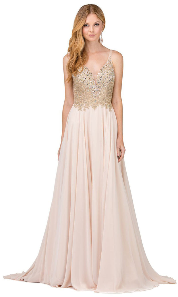 Dancing Queen - 2259 Embellished Deep V Neck A-Line Gown In Neutral
