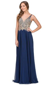 Dancing Queen - 2259 Embellished Deep V Neck A-Line Gown In Blue