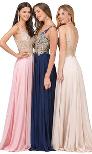 Dancing Queen - 2259 Embellished Deep V Neck A-Line Gown In Pink and Blue