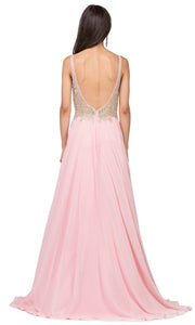 Dancing Queen - 2259 Embellished Deep V Neck A-Line Gown In Pink