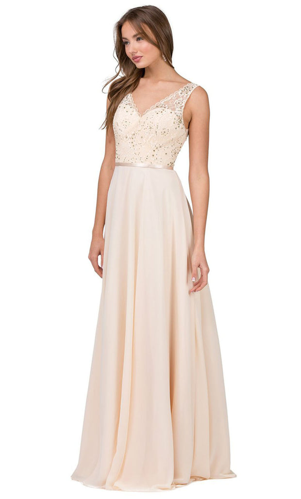Dancing Queen - 2267 Embroidered V Neck A-Line Dress In Neutral