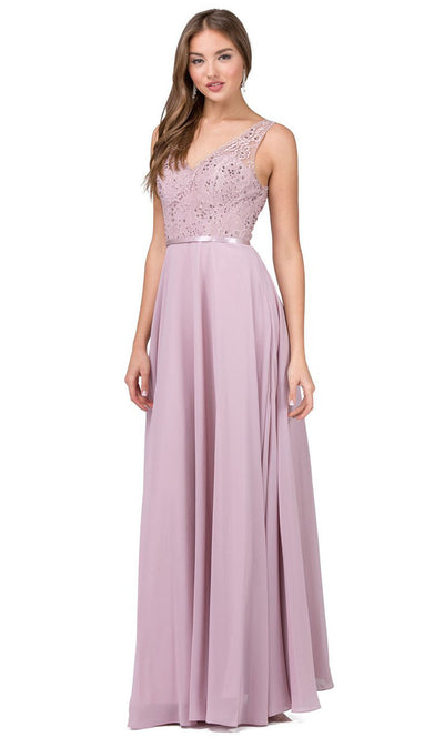 Dancing Queen - 2267 Embroidered V Neck A-Line Dress In Pink