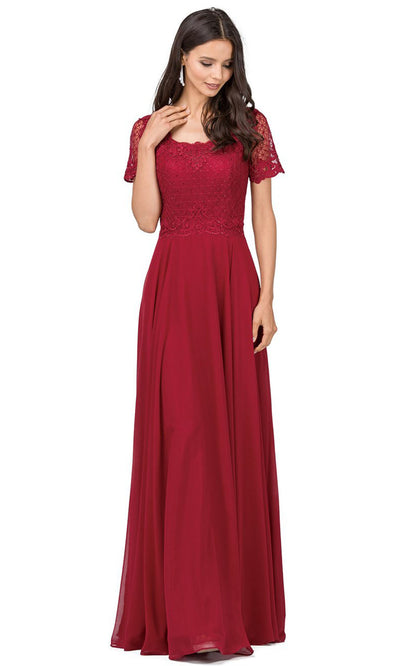 Dancing Queen - 2268 Embroidered Scoop Neck A-Line Gown In Red
