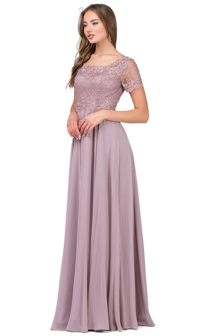 Dancing Queen - 2268 Embroidered Scoop Neck A-Line Gown In Brown
