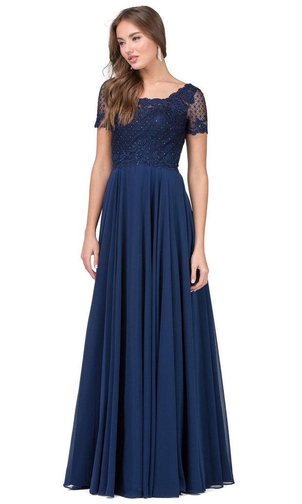 Dancing Queen - 2268 Embroidered Scoop Neck A-Line Gown In Blue