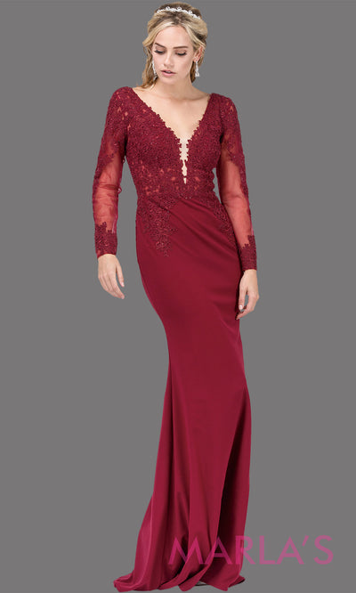 Long burgundy red fitted dress with long sleeves, V Neck, & lace. This dark red tight floor length gown with sleeves is perfect as a prom dress, indowestern party dress, modest wedding guest dress, maroon formal party dress. Plus sizes avail.