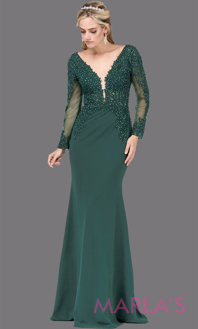 Long dark green fitted dress with long sleeves,V Neck, & lace.This hunter green tight floor length gown with sleeves is perfect as a prom dress, indowestern party dress,modest wedding guest dress, emerald green formal party dress.Plus sizes avail.