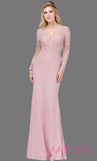 Long dusty pink fitted dress with long sleeves, V Neck, & lace. This pink tight floor length gown with sleeves is perfect as a prom dress, indowestern party dress, modest wedding guest dress, formal party dress. Plus sizes avail.