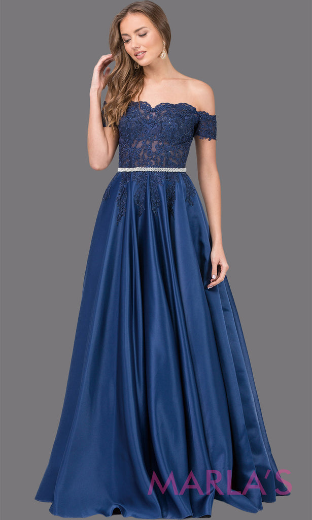 29e7c182cea7 Long off shoulder flowy navy blue dress with lace top, removable rhinestone  belt & chiffon ...
