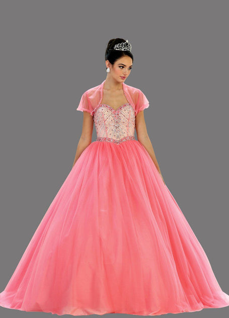 * Long Sweetheart Strapless Coral Ball Gown