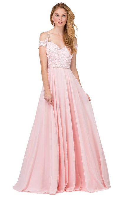 Dancing Queen - 2327 Embroidered Off Shoulder A-Line Dress In Pink