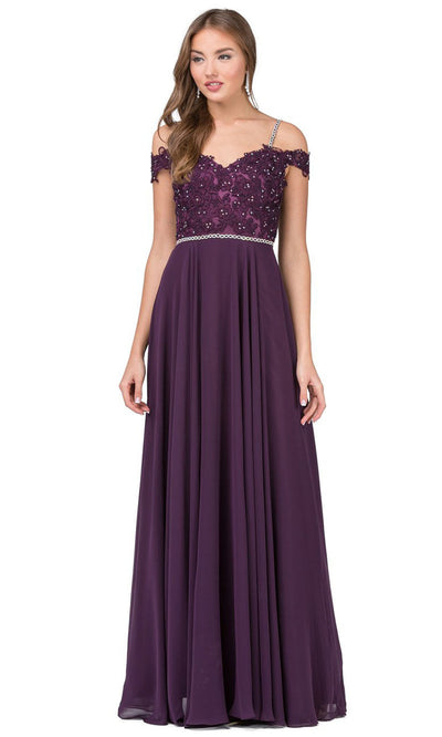 Dancing Queen - 2327 Embroidered Off Shoulder A-Line Dress In Purple