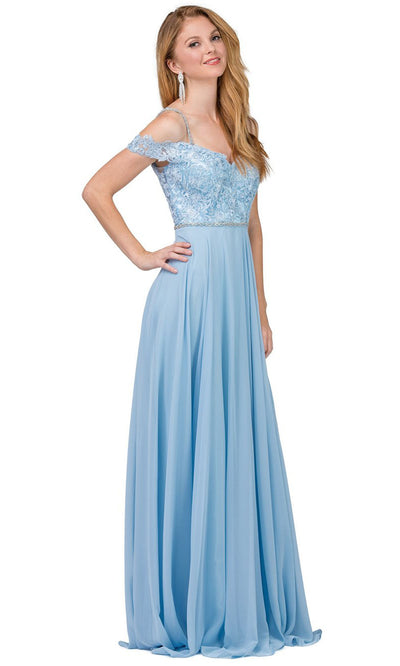 Dancing Queen - 2327 Embroidered Off Shoulder A-Line Dress In Blue