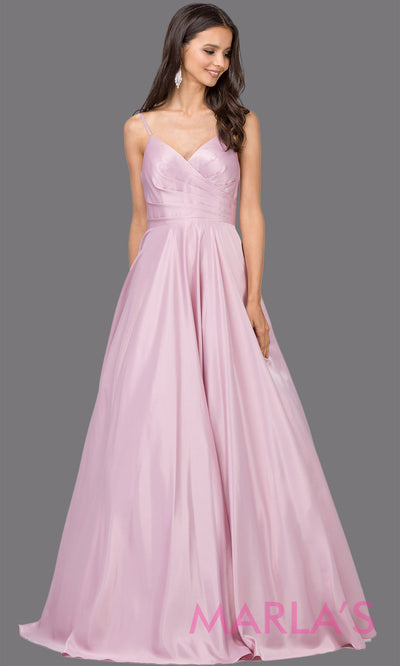 Long simple dusty pink semi ball gown in a satin taffeta. Comes with straps, V Neck & skirt has pockets.This light pink floor length gown is perfect as a pink prom ballgown, wedding reception dress,engagement dress,formal wedding.Plus sizes avail.