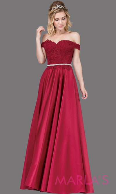 Long burgundy red off shoulder dress with satin skirt, lace top & removable rhinestone belt. This dark red floor length gown is perfect as a red semi ballgown prom dress, bridesmaid dresses, sweet 16, wedding engagement dress, plus sizes avail.