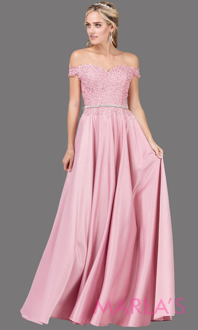 Long dusty pink off shoulder dress with satin skirt, lace top & removable rhinestone belt. This light pink floor length gown is perfect as a pink semi ballgown prom dress, bridesmaid dresses, sweet 16, wedding engagement dress, plus sizes avail.