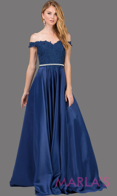 Long navy blue off shoulder dress with satin skirt, lace top & removable rhinestone belt. This dark blue floor length gown is perfect as a blue semi ballgown prom dress, bridesmaid dresses, sweet 16, wedding engagement dress, plus sizes avail.