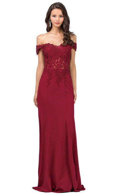 Dancing Queen - 2358 Embroidered Off Shoulder Trumpet Dress With Train In Red