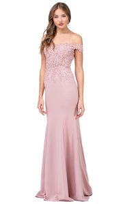 Dancing Queen - 2358 Embroidered Off Shoulder Trumpet Dress With Train In Pink