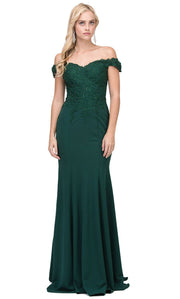 Dancing Queen - 2358 Embroidered Off Shoulder Trumpet Dress With Train In Green