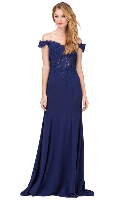Dancing Queen - 2358 Embroidered Off Shoulder Trumpet Dress With Train In Blue