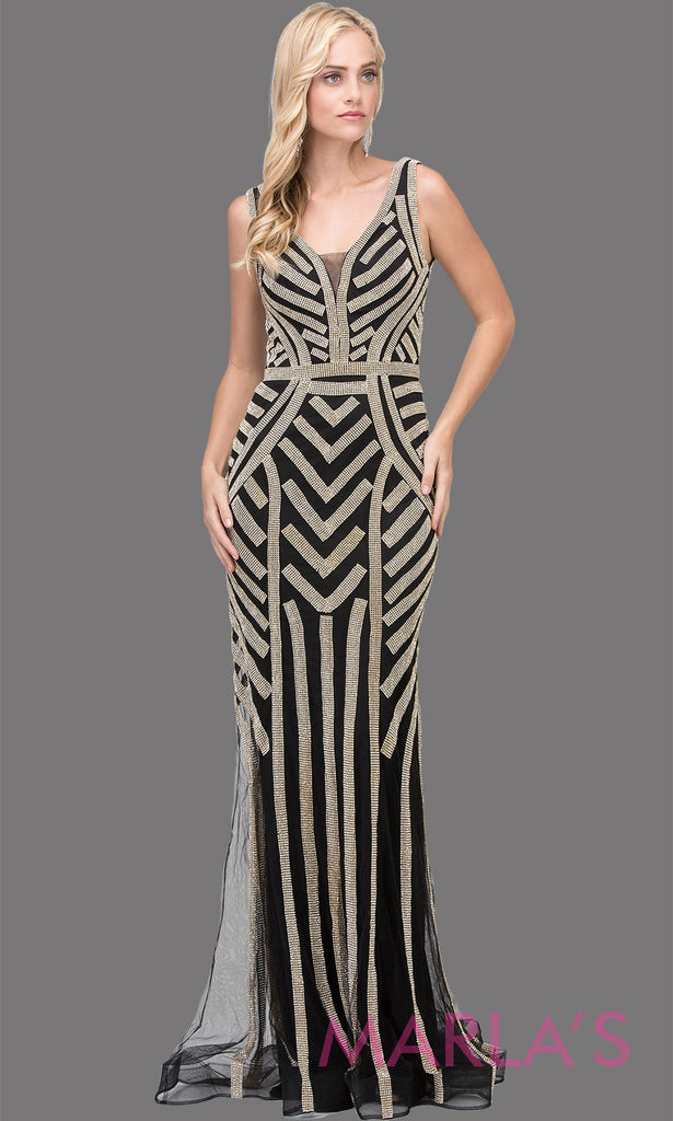 ea5fb96f Long black and gold sequin dress with wide straps and v neck. This stunning  black ...