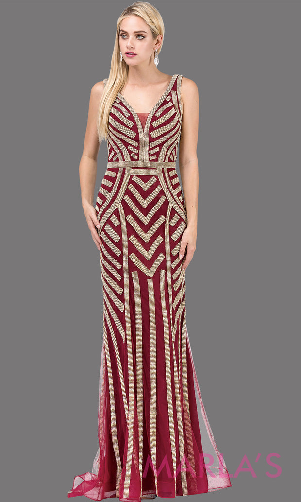 Long burgund & gold sequin dress with wide straps and v neck.This stunning dark red beaded fancy evening gown is perfect as a wine prom dress, wedding reception dress, engagement dress, mother of the bride dress, formal wedding, Plus sizes avail.