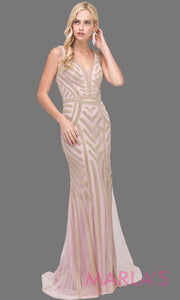 Long dusty pink & gold sequin dress with wide straps and v neck.This stunning pink beaded fancy evening gown is perfect as a pink prom dress, wedding reception dress, engagement dress, mother of the bride dress, formal wedding, Plus sizes avail.