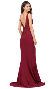 Dancing Queen - 2392 Sleeveless Beaded Lace Bodice Evening Dress In Burgundy