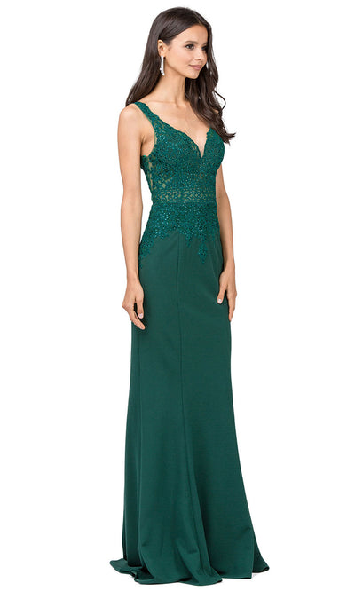 Dancing Queen - 2392 Sleeveless Beaded Lace Bodice Evening Dress In Green