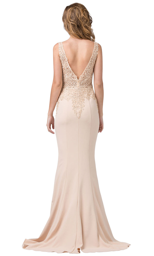 Dancing Queen - 2392 Sleeveless Beaded Lace Bodice Evening Dress In Champagne & Gold