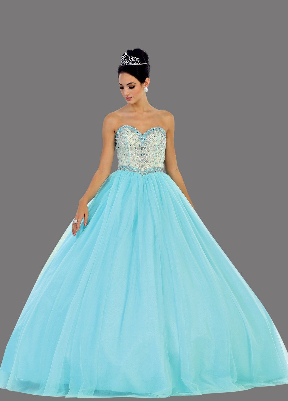 * Long Sweetheart Strapless Royal Blue Ball Gown