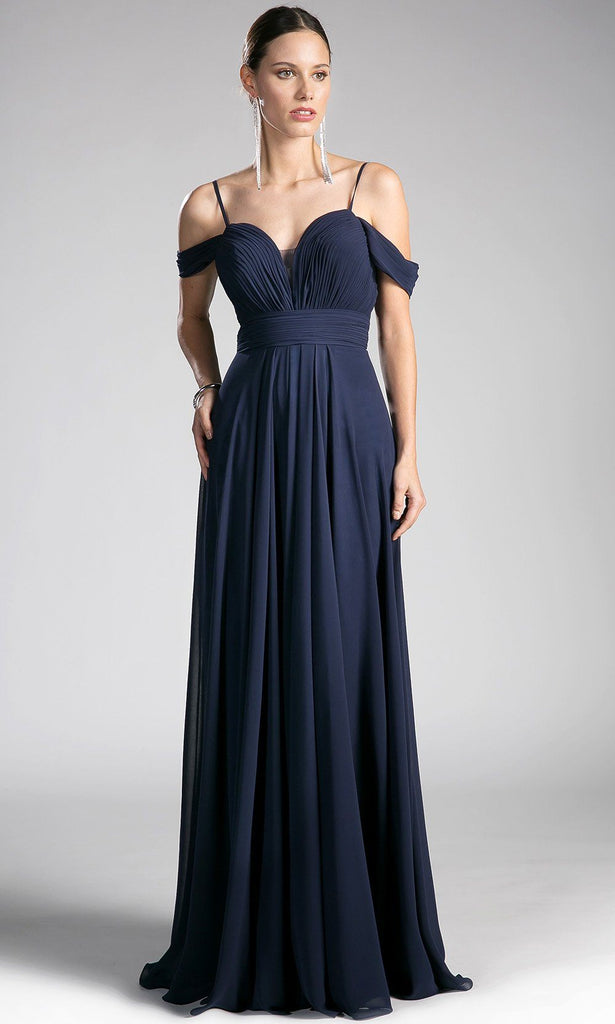 605183a4081b Long flowy navy blue off shoulder dress with v neck back. Perfect long gown  for ...