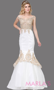 Long white fitted evening gown with wide straps & gold lace.This white mermaid floor length dress is perfect as a prom dress, indowestern fitted party dress, formal party dress, white wedding reception dress, engagement dress. Plus sizes avail.