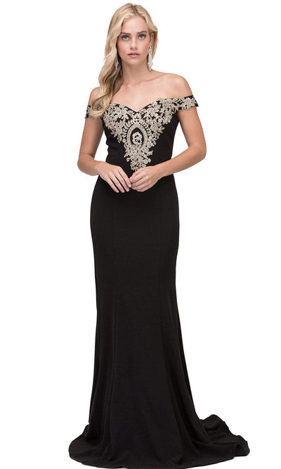 Dancing Queen - 2414 Off-Shoulder Gold Appliqued Fitted Gown In Black
