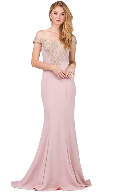 Dancing Queen - 2414 Off-Shoulder Gold Appliqued Fitted Gown In Pink
