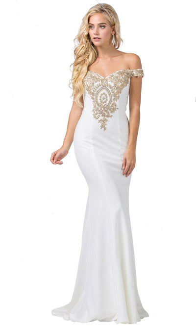 Dancing Queen - 2414 Off-Shoulder Gold Appliqued Fitted Gown In White & Ivory