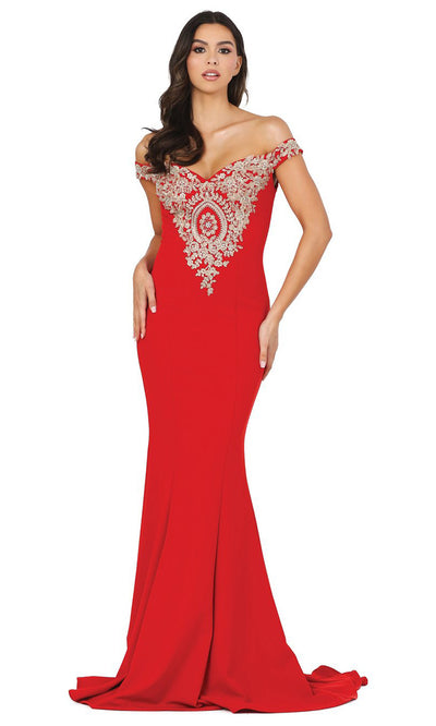 Dancing Queen - 2414 Off-Shoulder Gold Appliqued Fitted Gown In Red