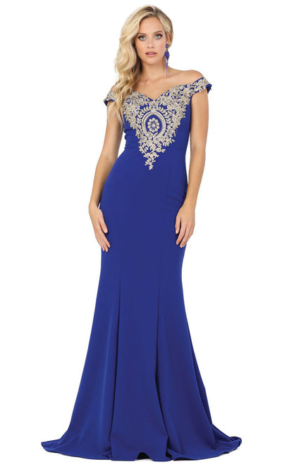 Dancing Queen - 2414 Off-Shoulder Gold Appliqued Fitted Gown In Blue