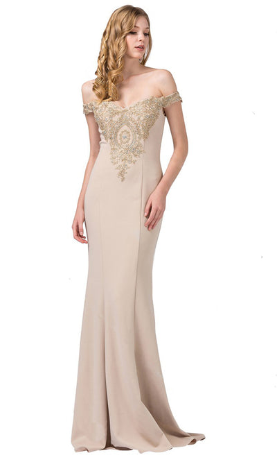 Dancing Queen - 2414 Off-Shoulder Gold Appliqued Fitted Gown In Champagne & Gold