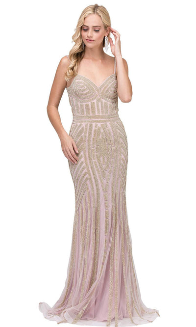 Dancing Queen - 2415 Rhinestone Embellished Mermaid Gown In Pink