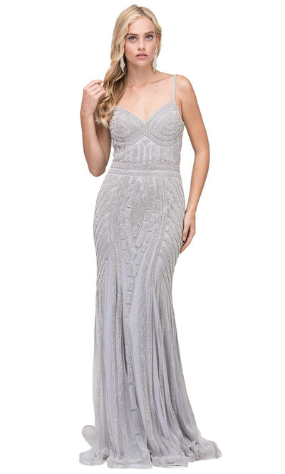 Dancing Queen - 2415 Rhinestone Embellished Mermaid Gown In Silver & Gray