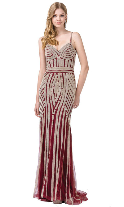 Dancing Queen - 2415 Rhinestone Embellished Mermaid Gown In Burgundy