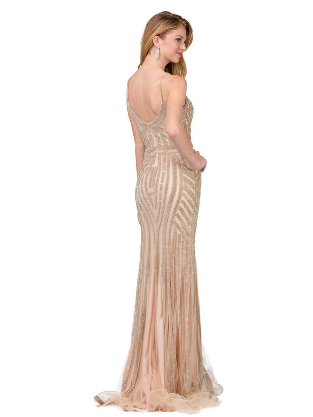 Dancing Queen - 2415 Rhinestone Embellished Mermaid Gown In Champagne & Gold