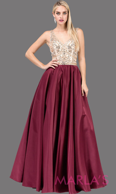 Long burgundy red semi ball gown with beaded top, wide straps, & skirt comes with pockets. This floor length ballgown is perfect as a dark red prom dress, indowestern maroon evening party dress, reception dress, formal wedding guest. Plus sizes.