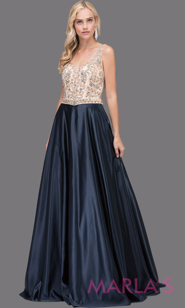 Long navy blue semi ball gown with beaded top, wide straps, & skirt comes with pockets. This floor length ballgown is perfect as a dark blue prom dress, indowestern navy blue evening party dress, reception dress, formal wedding guest. Plus sizes.