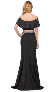 Dancing Queen - 2419 Two-Piece Rhinestone Ornate Off Shoulder Dress In Black