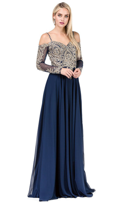 Dancing Queen - 2422 Embroidered Long Sleeve A-Line Gown In Blue