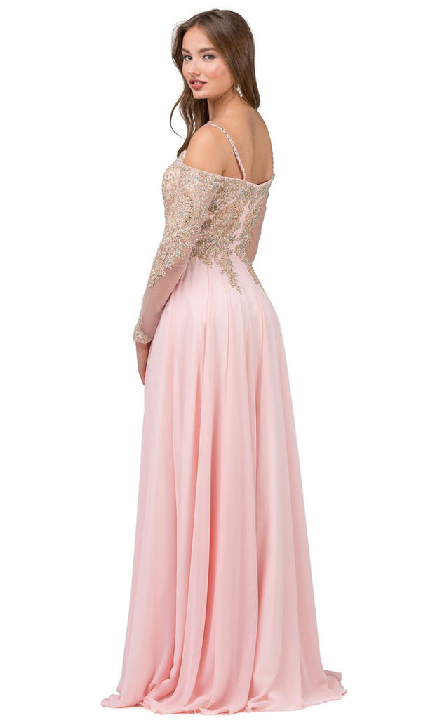 Dancing Queen - 2422 Embroidered Long Sleeve A-Line Gown In Pink